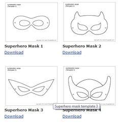 Free superhero printable masks: use as felt mask templates