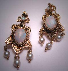 Antique Victorian Opal Earrings Vintage Etruscan Gold. $1,285.00, via Etsy.