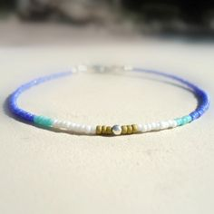 Thin Beaded Bracelet Sterling Silver Jewelry Tribal Native Layer Simple Skinny Everyday Blue Aqua White B-TBM