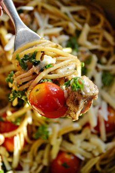 Summer Spaghetti - Spaghetti in Garlic Gravy with Herbs, Lemon Marinated Chicken and Cherry Tomatoes