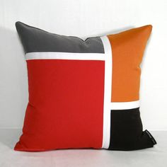 Color Block Pillow Cover  Modern Red Outdoor Pillows  by Mazizmuse