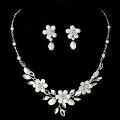 Frosted Swarovski Crystal Floral Bridal Jewelry Set - a beautiful look for Spring and Summer weddings!