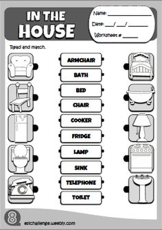 In the house - worksheet 1 English Activities For Kids, Learning English For Kids, English Lessons For Kids, Kids English, Learn English, English Teaching Materials, English Teaching Resources, Grammar For Kids, Primary English
