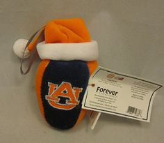 "Auburn University Football Plush Christmas Ornament 5"" Santa Hat AU Tigers Forever Collectibles  War Eagle!"