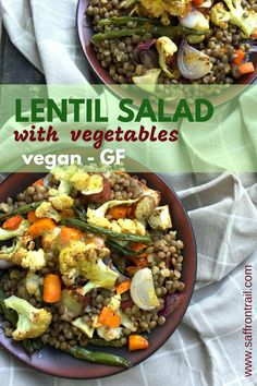 Roast Winter Vegetables with Lentils Healthy vegan lentil salad with roasted vegetables and a mustardy dressing –can easily be eaten warm or cold Lentil Salad Recipes, Healthy Salad Recipes, Veggie Recipes, Lunch Recipes, Indian Food Recipes, Beans Recipes, Delicious Recipes, Free Recipes, Dessert Recipes