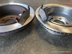 This was seen during a Virginia State Inspection. The brake pad and rotor had gone metal to metal decreasing the braking ability of the car