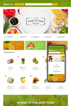 Naturve Multipurpose Magento 2 Theme is modern, clean, professional and multiple functions. Naturve is a magento theme which is supported by SEO standard of Sites Layout, Web Layout, Website Design Inspiration, Organic Food Market, Travel Website Design, Food Web Design, Minimalist Web Design, Ecommerce Website Design, Food Website