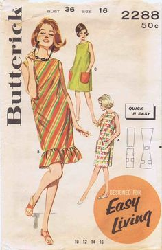 1960s Butterick 2288 Womens Vintage Sewing Pattern