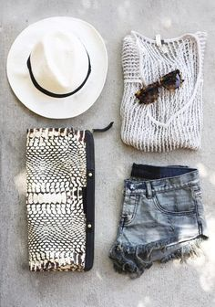 denim + fedora + clutch + sweater ~ it would definitely be my style if I could only pull it off
