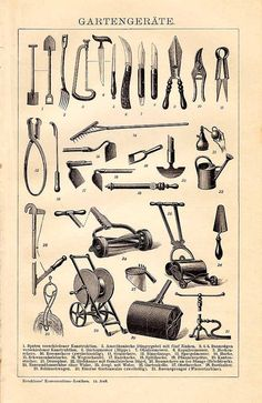 Original 1895 Antique lithography print - gardening tools / equipment