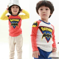 BATMAN long tshirt, girls tops / t shirts / hoodies, baby boys / kids clothes / children t shirts clothing, 4pcs/lot #3045-in Tees from Apparel & Accessories on Aliexpress.com