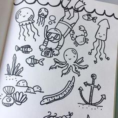Practice doodles always look better than the ones I film.  #underwater #underthesea #doodles #illustration #drawing