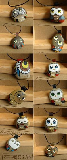 Easy paint rock for try at home (stone art & rock painting ideas) Pebble Painting, Pebble Art, Stone Painting, Owl Crafts, Crafts For Kids, Arts And Crafts, Bead Crafts, Owl Rocks, Art Pierre