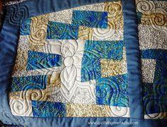 "Blue Gold Table Runner (Detail)  Machine Pieced, Free Motion Quilting. 14"" x 36""  Quilts by Marisela original design.   www.quiltsbymarisela.com"