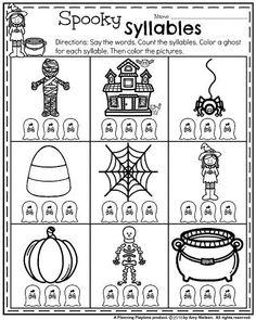 October Kindergarten Worksheets - Spooky Syllables. Graphing Worksheets, Sight Word Worksheets, 1st Grade Worksheets, Science Worksheets, Free Printable Worksheets, Syllables Kindergarten, Kindergarten Lessons, 4th Grade Sight Words, Scientific Method Worksheet