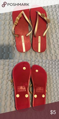 f21d611fa28 Red   gold Ipanema flip flops w charm Maybe worn once. Color is a