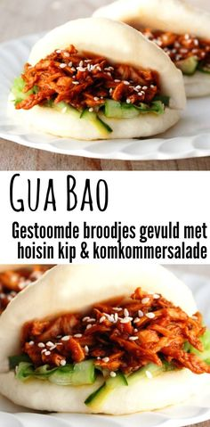 broodjes met hoisin kip Gua Bao (Chinese steamed buns) with hoisin pulled chicken and cucumber salad.Gua Bao (Chinese steamed buns) with hoisin pulled chicken and cucumber salad. Hoisin Chicken, Steamed Chicken, Steamed Buns, Salad Chicken, Canned Chicken, Tapas, Asian Recipes, Healthy Recipes, Sweet Recipes
