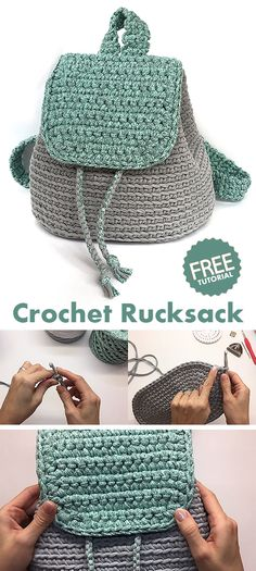 Rucksack / Backpack / Bag - learn how to crochet - knitting is as easy as 1 . - Rucksack / Backpack / Bag – learn how to crochet – knitting is as easy as 3 Knitting boil - Crochet Diy, Bag Crochet, Crochet Handbags, Crochet Purses, Learn To Crochet, Crochet Crafts, Crochet Clothes, Crochet Ideas, Easy Things To Crochet