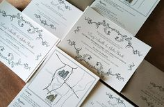 Lucy + John's Romantic Floral Wedding Invitations | Design and Photo Credits: Blue & Theory