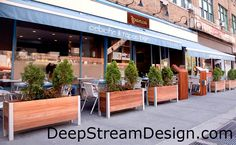 large rectangular wooden planters for sidewalk cafe and restaurant patios