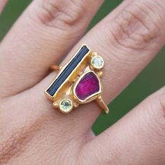 925 Solid Sterling Silver Ring Bi Color Gemstone 22K Gold Fill Multi Color Tourmaline Ring Gift for Her Watermelon Ring Rose Gold