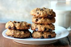 Peanut Butter Oatmeal Chocolate Chip Cookies ~ Chewy and no flour! ~ oats, baking soda, PB, dark brown sugar, eggs, vanilla extract, chocolate chips; bake, cool, serve and enjoy