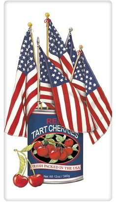 Cherry Can of American Flags 100% Cotton Flour Sack Dish Towel Tea Towel