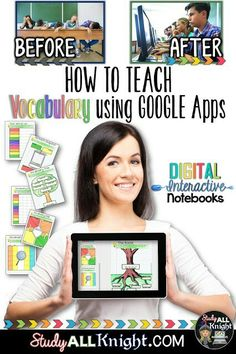 How to Build Vocabulary Lessons Using Digital Interactive Notebooks - Study All Knight Vocabulary Instruction, Teaching Vocabulary, Vocabulary Building, Vocabulary Activities, Vocabulary Notebook, Academic Vocabulary, Spanish Activities, Google Drive, Teaching Technology
