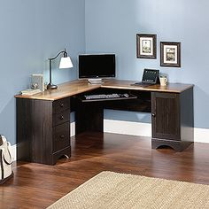 L Shaped Corner Desk With Optional Hutch In Antique Black Finish