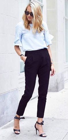 stylish office outfit idea shirt + pants + heels