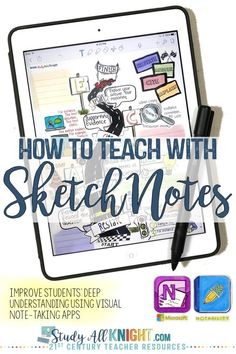 How to Teach with Sketchnotes: Deep Understanding & Visual Note-Taking - Study All Knight Classroom Whiteboard, Visual Note Taking, High School English, English Class, Teaching English, Visual Learning, Back To School Activities, Stem Activities, Sketch Notes