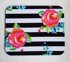 Computer Mouse PAD - Mat - MousePad - Rectangle - black white stripes roses | Computers/Tablets & Networking, Laptop & Desktop Accessories, Mouse Pads & Wrist Rests | eBay!