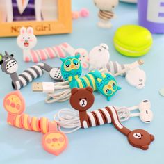 Cute Cartoon Earphone Wire Cord Cable Winder Organizer Holder for iPhone 5 Tablet MP3 MP4 PC Electric Cable winding thread tool