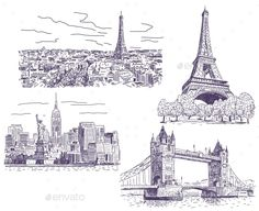 Sightseeings Vector Drawings Set