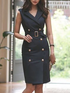 Buy Midi Dresses For Women from A-THENA at StyleWe Online Shopping Lapel Black Midi Dress OL Sleeveless Sexy Dress, The Best Work Midi Dresses Discover unique designers fashion at StyleWecom - Pregnancy Midi Dress Work, Black Midi Dress, Elegant Dresses, Casual Dresses, Dresses For Work, Midi Dresses, Sexy Dresses, Casual Outfits, Flower Dresses