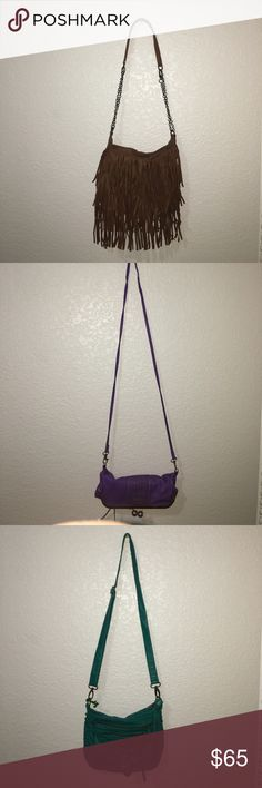 3 purses together or sold separately The first one is a brown tassel bag designed for a one shoulder carrying. The second purse is a purple Jessica Simpson open up purse that is a cross body but can be tied for a one shoulder carrying. The last and final purse is it turquoise/teal one shoulder carrying or cross body. This can either be bought together or they can be bought separately upon request. Just shoot me an offer and tell me which one you would be offering for so I can measure out the…