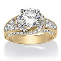 4 TCW Marquise-Cut Cubic Zirconia 14k Gold over Sterling Silver Ring at PalmBeach Jewelry