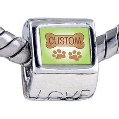 Custom Jewelry - dog bone custom photo love beads charms bracelets Image.