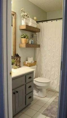 Beautiful farmhouse shower ideas or vintage bathroom remodel on a budget 3 idea curtain amazing and Small Bathroom Diy, Small Bathroom Decor, Diy Bathroom Decor, Small Bathroom Remodel, Bathroom Mirror Makeover, Bathrooms Remodel, Bathroom Makeover, Diy Bathroom Remodel, Small Remodel