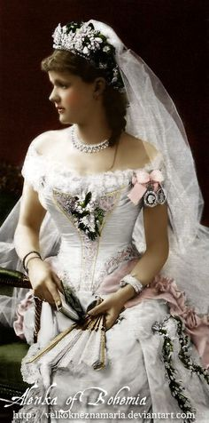 Inspiration photo: Helen, Duchess of Albany, on her wedding day to Prince Leopold, (youngest son of Queen Victoria). Two lovely Victorian cameos hang by a ribbon on her sleeve /~VelkokneznaMaria on deviantART