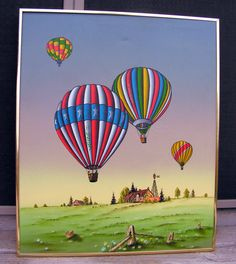 Vintage Original C. Carson Painting / Colorful Hot Air Balloons in the sky / Farm Scene / Creative Interiors Wall Art