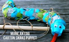 Egg carton craft is a fun way to make some easy recycled craft projects for kids. This snake puppet how-to video shows you a how to make a homemade toy. Kids Crafts, Projects For Kids, Diy For Kids, Craft Projects, Craft Ideas, Play Ideas, Egg Carton Art, Egg Carton Crafts, Egg Cartons