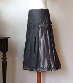 Ruffled denim skirt aline skirt asymmetrical skirt with by couvert