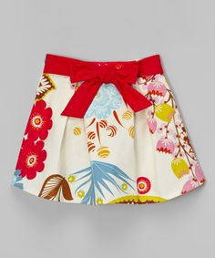 Look what I found on #zulily! Beige & Red Floral Bow Skirt - Infant, Toddler & Girls #zulilyfinds