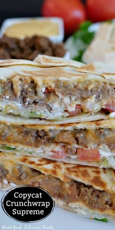 Taco Bell Recipes, Southern Recipes, Mexican Food Recipes, Beef Recipes, Vegetarian Recipes, Dinner Recipes, Incredible Recipes, Amazing, Bbq Chicken Wraps