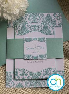 Tiffany Blue Damask Wedding Invitation Suite