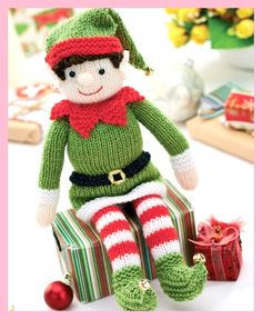 Bernard the Elf - free knitting pattern from Let's Knit. Or, a cute doll without the elfie stuff.Knitted Bernad the Elf - Free Knitting Pattern ( You will need to be registered…Christmas elves have always been symbolic of festive cheer, and Bernard Knitted Dolls, Crochet Toys, Crochet Birds, Crochet Bear, Knitted Baby, Crochet Granny, Crochet Animals, Elf Toy, Christmas Toys