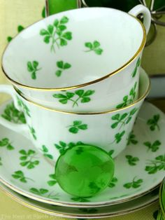Shamrock China Tea Set (my mom had these but since my brother was such a birdbrain they smashed off a shelf one day)
