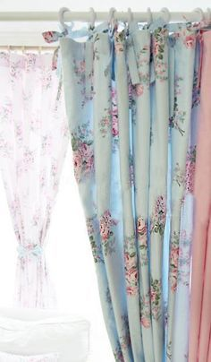 Shabby Chic Blue Rose Curtain - like how it slides...not just ties.