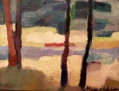 Herräng, Sweden. 28x22 cm + wood frame in brown 1,5 cm. Oil painting on canvas by Marie Åhfeldt, Mås Illustra. www.masillustra.se #painting #art #masillustra #landscape